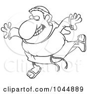 Royalty Free RF Clip Art Illustration Of A Cartoon Black And White Outline Design Of A Happy Friar by toonaday