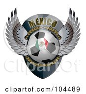 Royalty Free RF Clipart Illustration Of A Winged Mexico Soccer Ball Crest