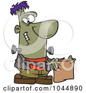 Royalty Free RF Clip Art Illustration Of A Cartoon Frankenstein Holding A Treat Bag by toonaday