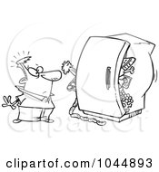 Royalty Free RF Clip Art Illustration Of A Cartoon Black And White Outline Design Of A Man Standing Before A Packed Refrigerator by toonaday