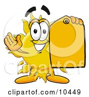 Clipart Picture Of A Sun Mascot Cartoon Character Holding A Yellow Sales Price Tag by Toons4Biz