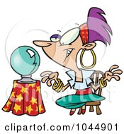Royalty Free RF Clip Art Illustration Of A Cartoon Female Gypsy Fortune Teller by toonaday
