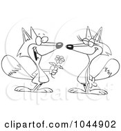 Royalty Free RF Clip Art Illustration Of A Cartoon Black And White Outline Design Of A Romantic Fox Giving His Mate A Flower by toonaday