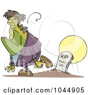 Royalty Free RF Clip Art Illustration Of A Cartoon Frankenstein Walking Away From A Grave by toonaday