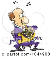 Royalty Free RF Clip Art Illustration Of A Cartoon Man Blowing Into A French Horn