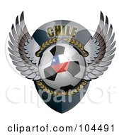 Royalty Free RF Clipart Illustration Of A Winged Chile Soccer Ball Crest