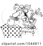 Royalty Free RF Clip Art Illustration Of A Cartoon Black And White Outline Design Of A Female Fortune Teller