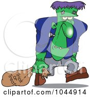 Royalty Free RF Clip Art Illustration Of A Cartoon Frankenstein Trick Or Treating by toonaday