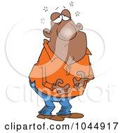 Royalty Free RF Clip Art Illustration Of A Cartoon Man Holding His Full Tummy