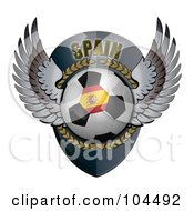 Royalty Free RF Clipart Illustration Of A Winged Spain Soccer Ball Crest by stockillustrations