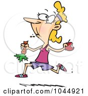 Royalty Free RF Clip Art Illustration Of A Cartoon Female Jogger Eating Her Fruits And Veggies by toonaday