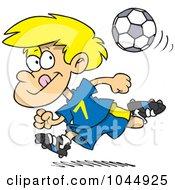 Royalty Free RF Clip Art Illustration Of A Cartoon Running Soccer Boy