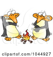 Royalty Free RF Clip Art Illustration Of Cartoon Penguins Warming Up By A Fire