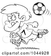 Royalty Free RF Clip Art Illustration Of A Cartoon Black And White Outline Design Of A Running Soccer Boy