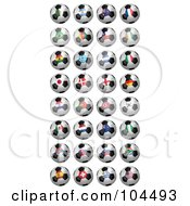 Royalty Free RF Clipart Illustration Of A Digital Collage Of 32 2010 Fifa World Cup Soccer Balls by stockillustrations