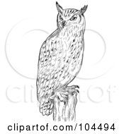 Royalty Free RF Clipart Illustration Of A Sketched Eagle Owl On A Post by patrimonio