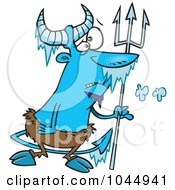 Royalty Free RF Clip Art Illustration Of A Cartoon Frozen Faun Holding A Trident