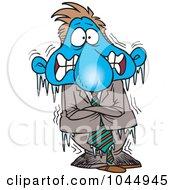 Royalty Free RF Clip Art Illustration Of A Cartoon Frozen Businessman