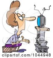 Cartoon Woman Watching Tv With Bare Furnishings