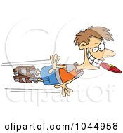 Royalty Free RF Clip Art Illustration Of A Cartoon Man Catching A Frisbee In His Mouth