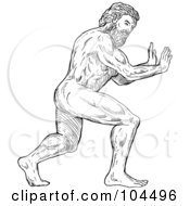 Royalty Free RF Clipart Illustration Of A Strong Hercules Pushing by patrimonio
