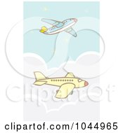 Royalty Free RF Clipart Illustration Of Two Commercial Airliners In Flight
