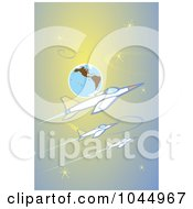 Royalty Free RF Clipart Illustration Of Three Jets Flying Around Earth