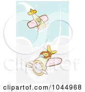 Royalty Free RF Clipart Illustration Of Lion Pilots Flying Biplanes