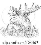 Royalty Free RF Clipart Illustration Of A Sketched Moose Resting In Grass by patrimonio