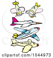 Royalty Free RF Clipart Illustration Of A Digital Collage Of Airplanes And A Jet