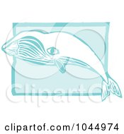 Blue Woodcut Style Design Of A Bowhead Whale