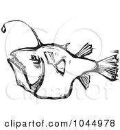 Royalty Free RF Clipart Illustration Of A Black And White Woodcut Style Angler Fish by xunantunich