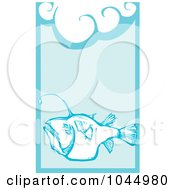 Royalty Free RF Clipart Illustration Of A Woodcut Styled Angler Fish In Blue Water
