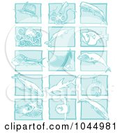 Royalty Free RF Clipart Illustration Of A Digital Collage Of Blue Woodcut Style Designs Of Sea Life