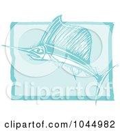Blue Woodcut Style Design Of A Swordfish