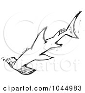 Royalty Free RF Clipart Illustration Of A Black And White Woodcut Style Hammerhead Shark by xunantunich