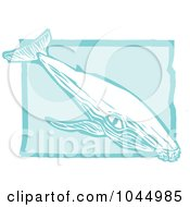 Blue Woodcut Style Design Of A Humpback Whale