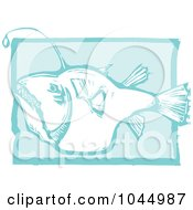 Royalty Free RF Clipart Illustration Of A Blue Woodcut Style Design Of An Angler Fish by xunantunich