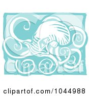 Blue Woodcut Style Design Of An Octopus