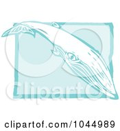 Blue Woodcut Style Design Of A Sei Whale