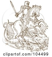 Royalty Free RF Clipart Illustration Of A Brown Sketched Knight On His Steed Battling A Dragon