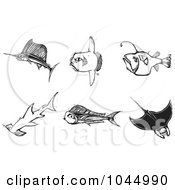 Royalty Free RF Clipart Illustration Of A Digital Collage Of Black And White Woodcut Styled Fish by xunantunich