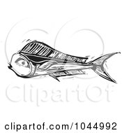 Royalty Free RF Clipart Illustration Of A Black And White Woodcut Style Mahi Mahi Fish by xunantunich