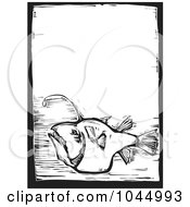 Royalty Free RF Clipart Illustration Of A Black And White Woodcut Styled Angler Fish