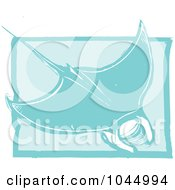 Royalty Free RF Clipart Illustration Of A Blue Woodcut Style Design Of A Manta Ray by xunantunich