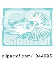 Blue Woodcut Style Design Of A Nautilus