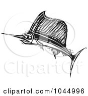Royalty Free RF Clipart Illustration Of A Black And White Woodcut Style Swordfish