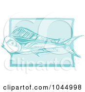 Royalty Free RF Clipart Illustration Of A Blue Woodcut Style Design Of A Mahi Mahi Fish by xunantunich