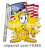Clipart Picture Of A Sun Mascot Cartoon Character Pledging Allegiance To An American Flag by Toons4Biz