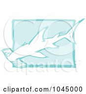 Blue Woodcut Style Design Of A Hammerhead Shark